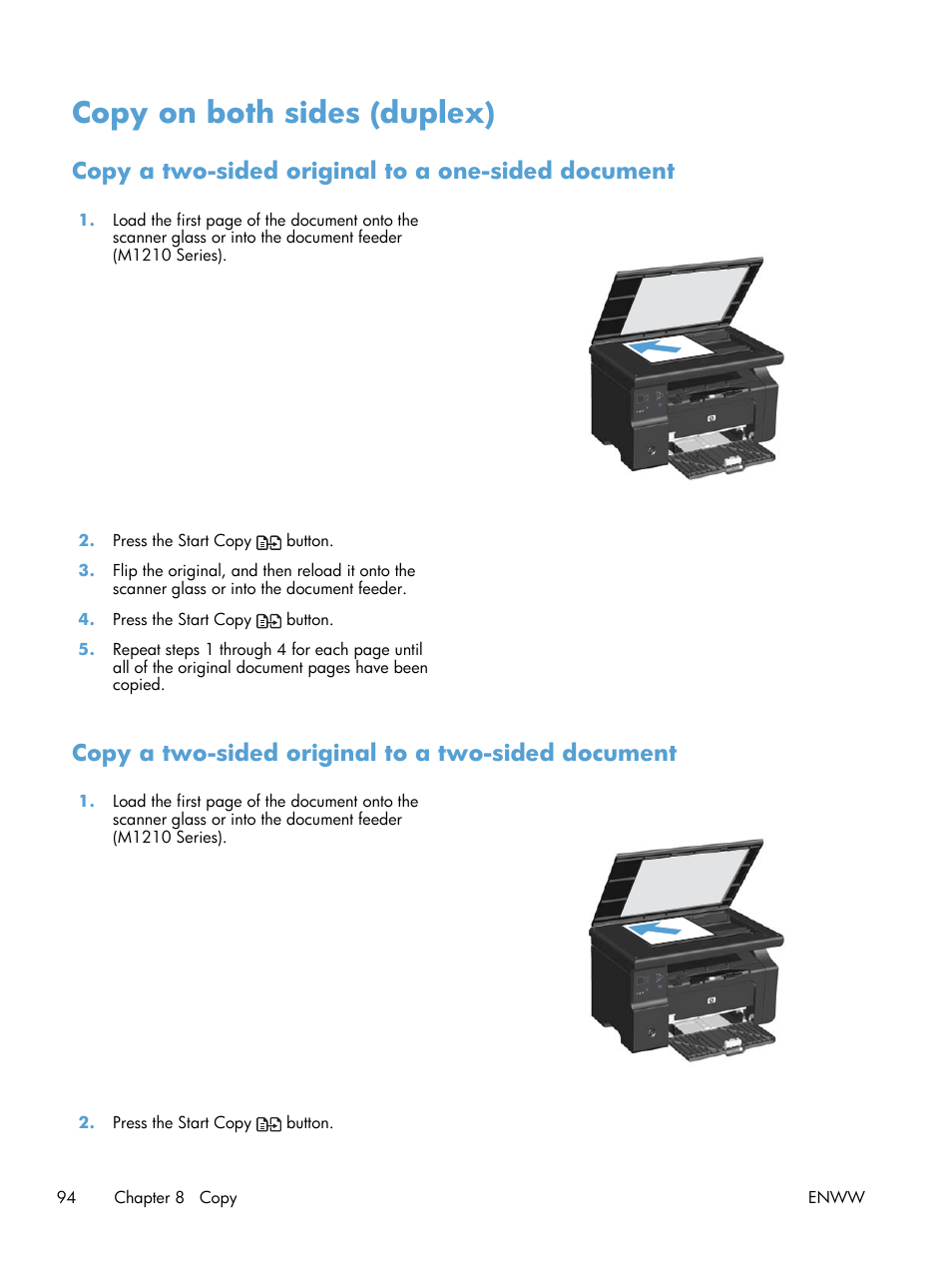 ... Copy a two-sided original to a one-sided document, Copy a two-sided  original to a two-sided document   HP laserjet m1212nf User Manual   Page  108 / 284
