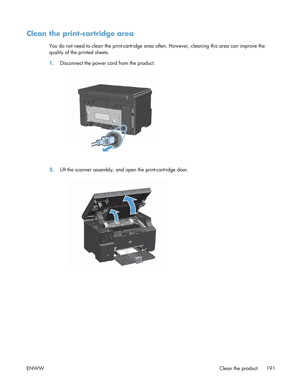 Clean the print-cartridge area   HP laserjet m1212nf User Manual   Page 205  / 284
