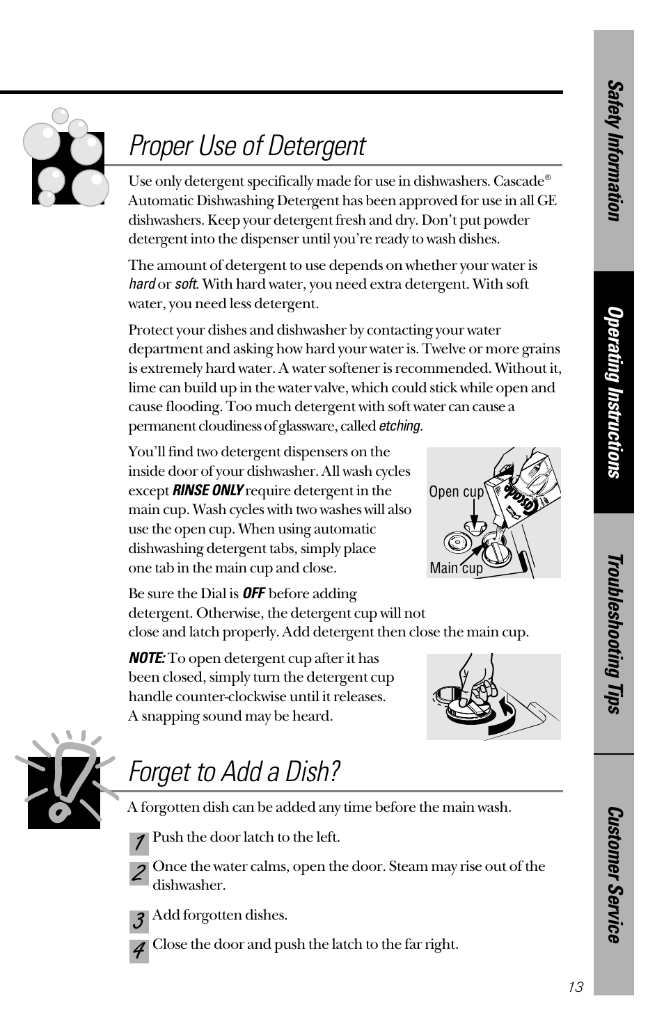Forget to add a dish, Proper use of detergent   GE nautilus dishwasher User  Manual   Page 13 / 32