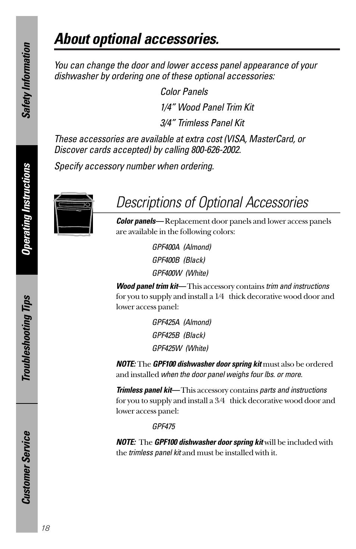 Optional accessories, Optional accessories , 19, About optional accessories  | GE nautilus dishwasher User Manual | Page 18 / 32