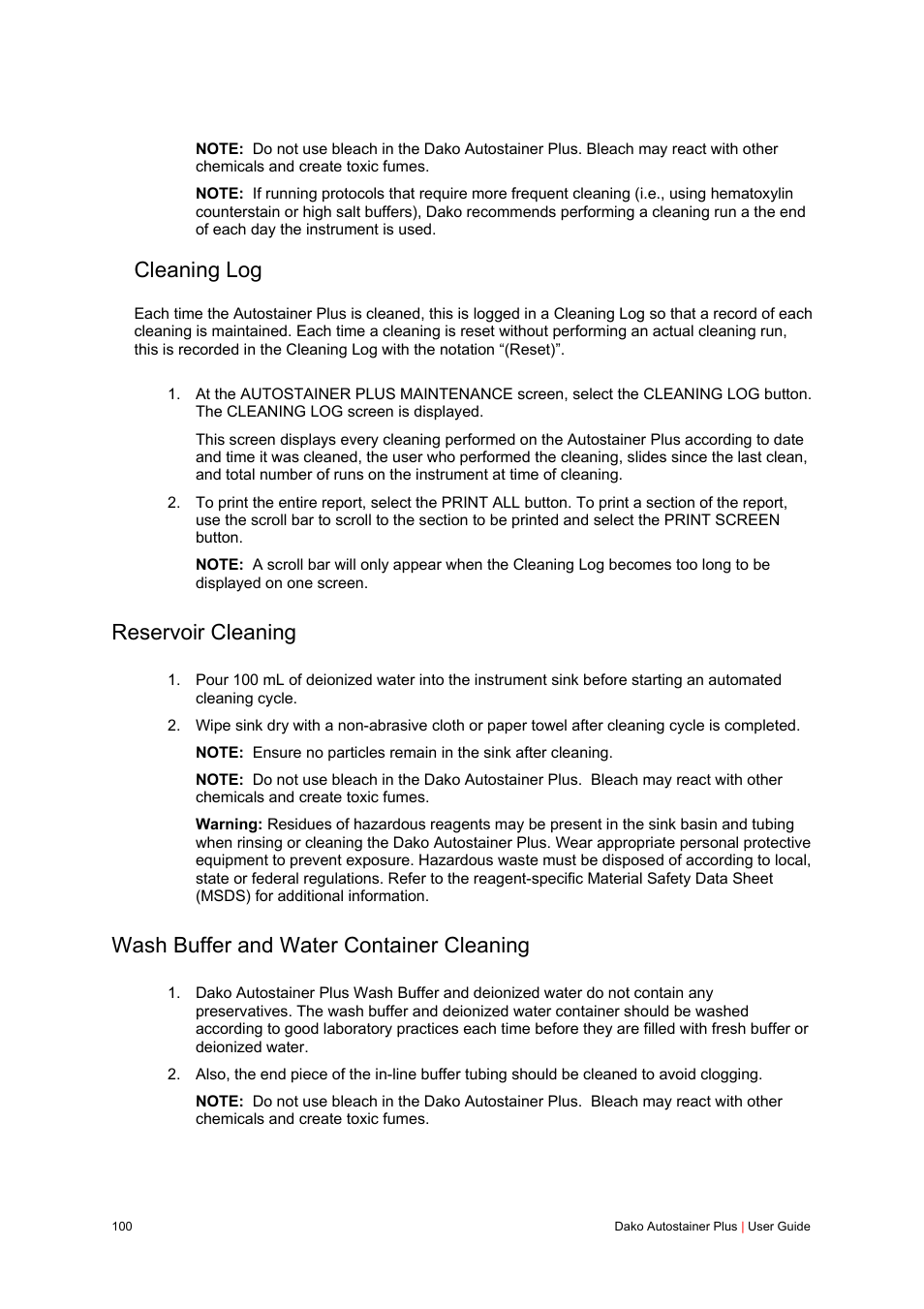 Cleaning log, Reservoir cleaning, Wash buffer and water container cleaning  | Dako Autostainer Plus User Manual | Page 100 / 121