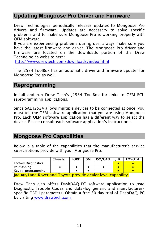 Updating mongoose pro driver and firmware, Reprogramming, Mongoose pro  capabilities | Drew Technologies MongoosePr