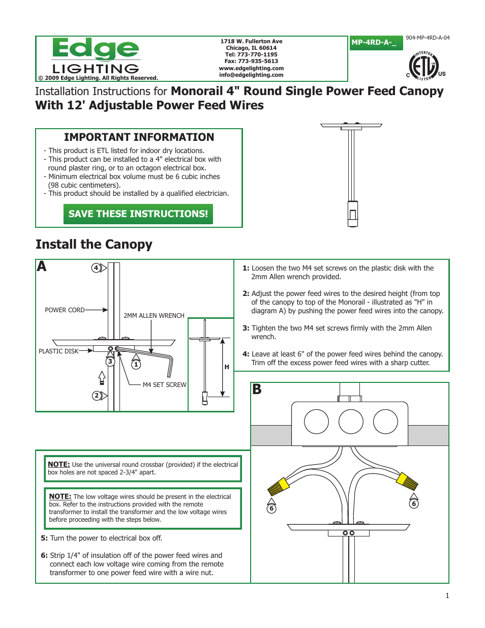 """Edge Lighting 4"""" Round Adjustable Power Feed Canopies User Manual 