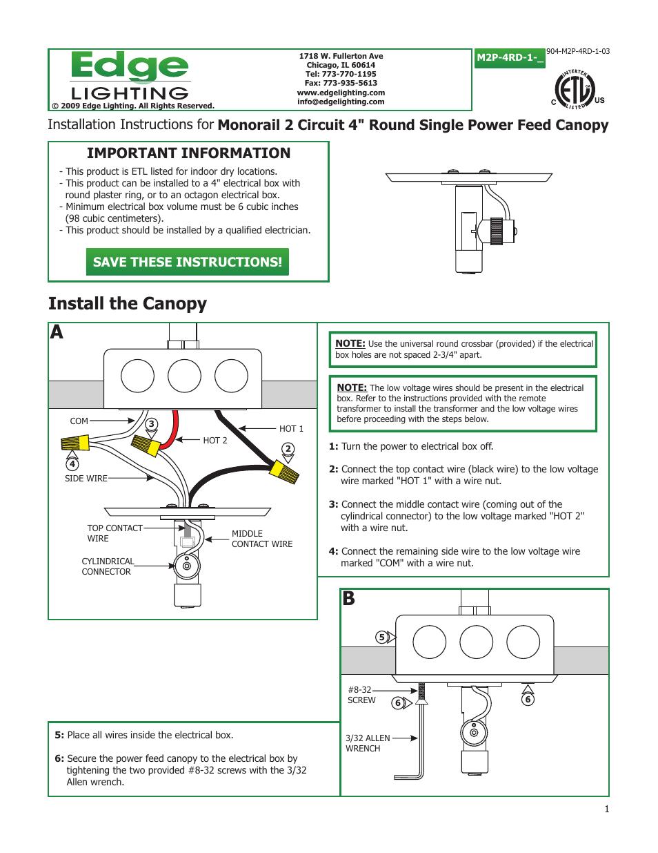 edge lighting 2 circuit 4 power feed canopies user manual 2 pages rh  manualsdir com Flood Light Wiring Diagram 3-Way Switch Light Wiring Diagram
