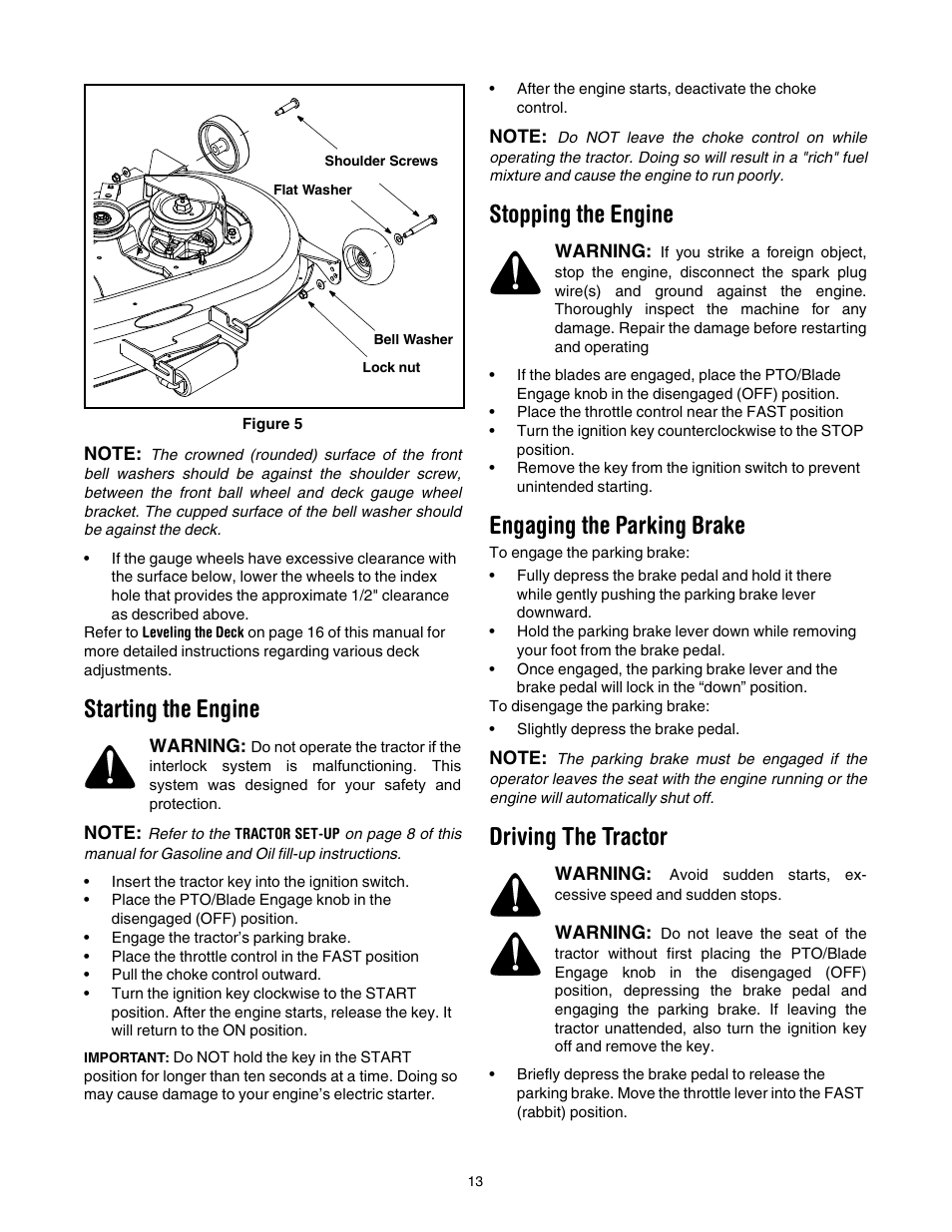 Starting the engine, Stopping the engine, Engaging the parking brake | Cub  Cadet LT1022 User Manual | Page 13 / 28
