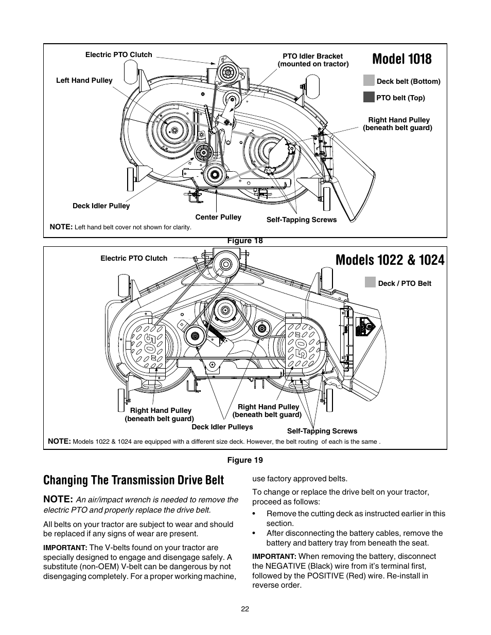 Model 1018, Changing the transmission drive belt | Cub Cadet LT1022 User  Manual | Page 22 / 28