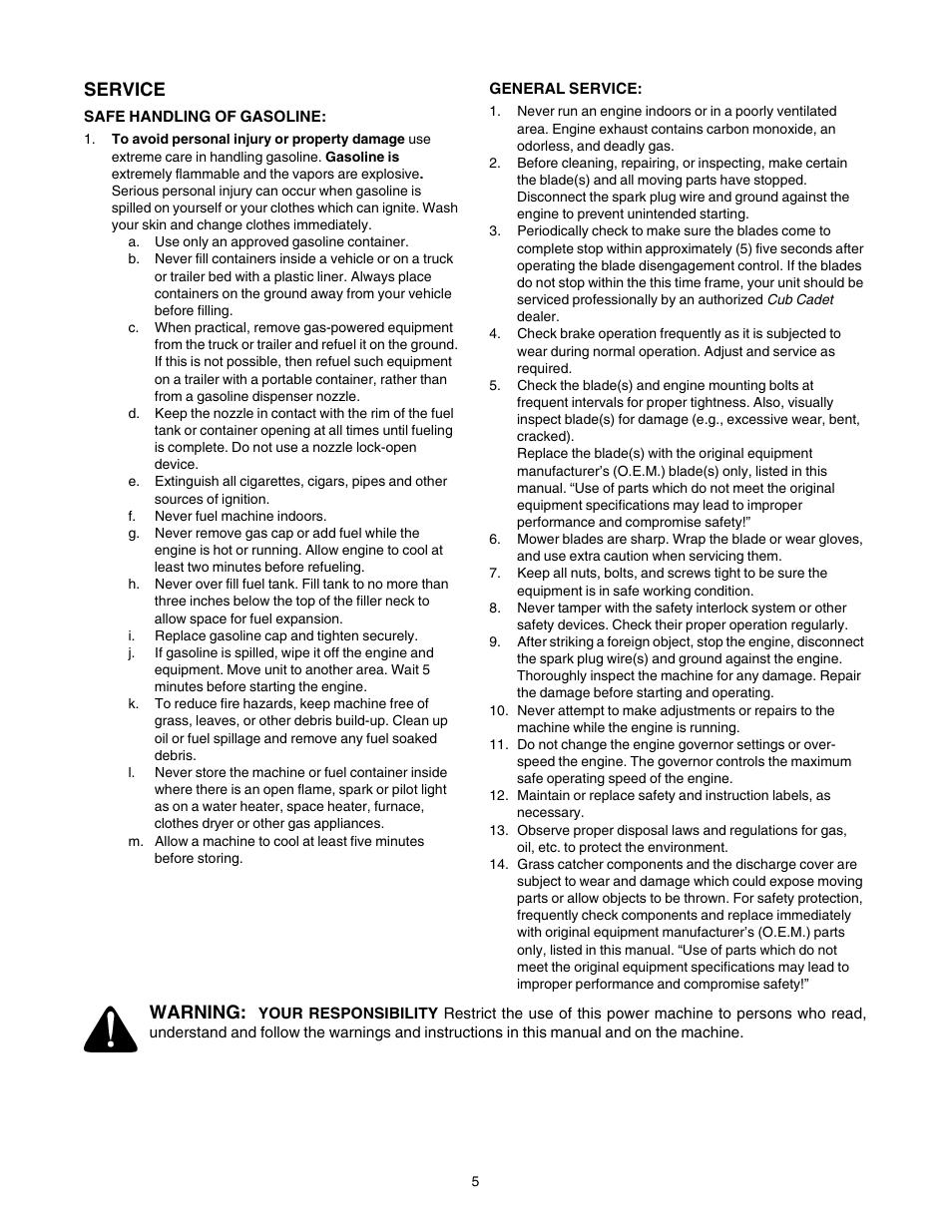 Service, Warning | Cub Cadet LT1022 User Manual | Page 5 / 28