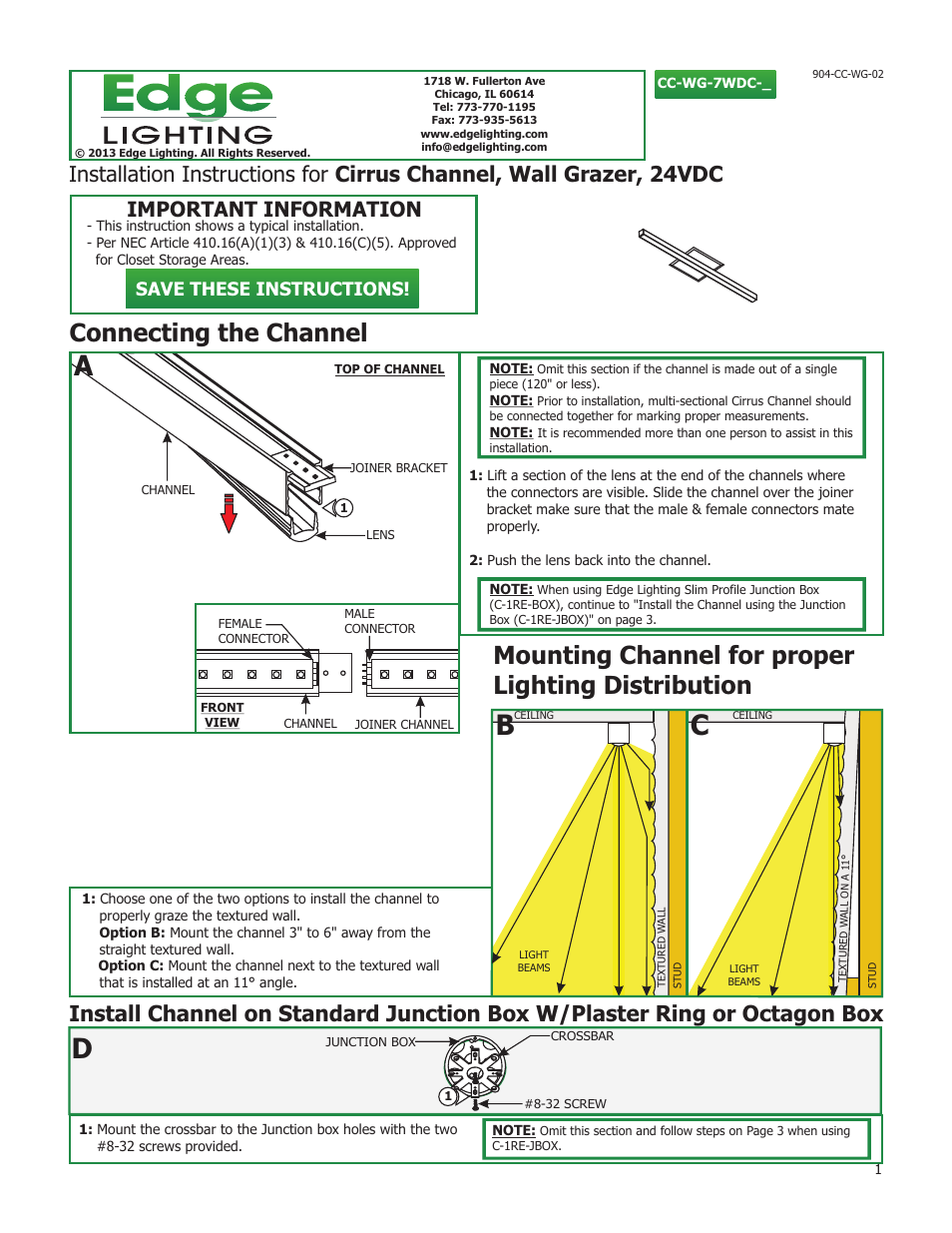 Edge Lighting Cirrus Channel, Wall Grazer User Manual | 5 pages