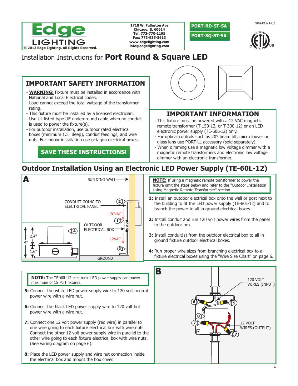 Edge Lighting Port Led Components User Manual 6 Pages Outdoor Wiring Without Conduit