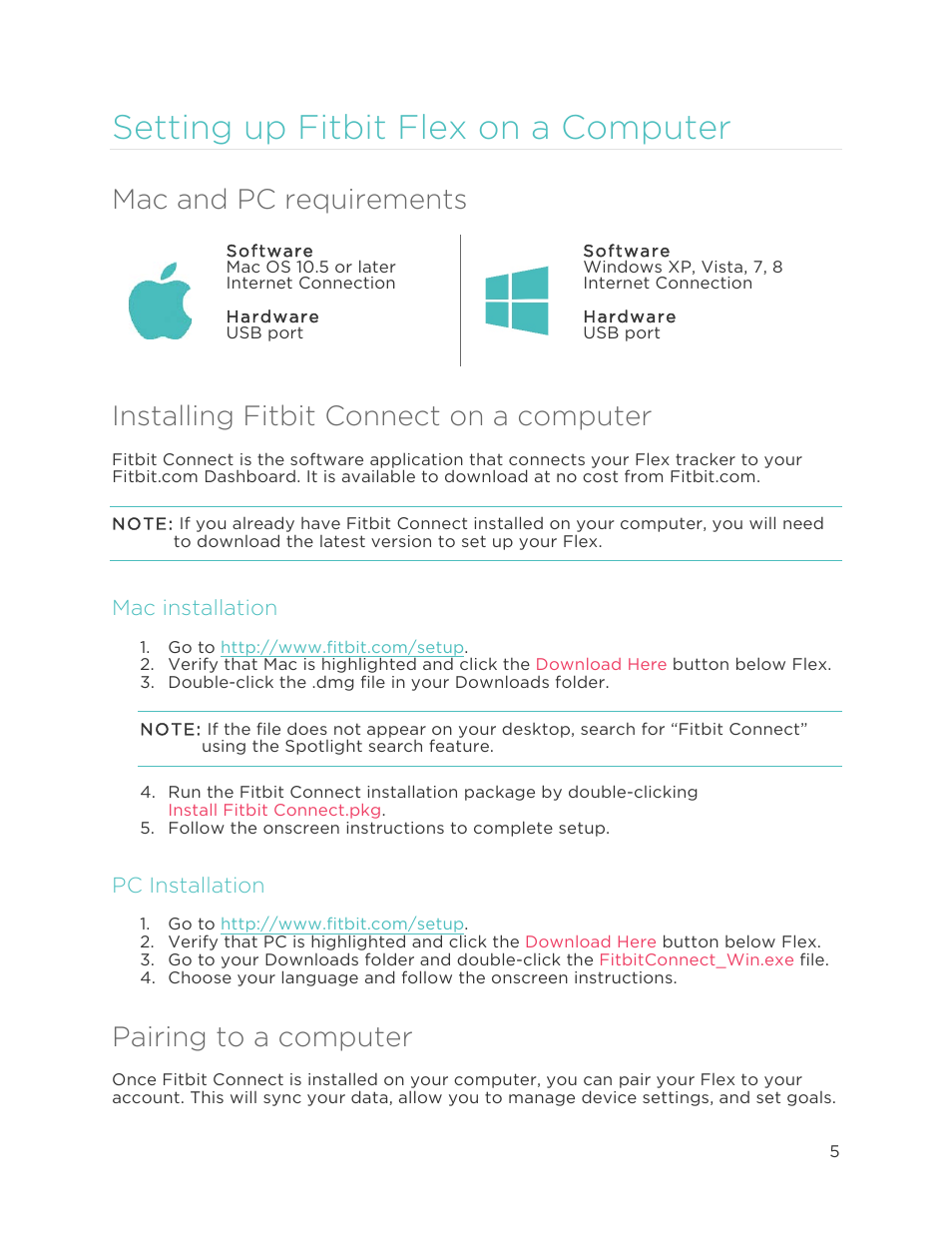 Mac And Pc Requirements Installing Fitbit Connect On A Computer