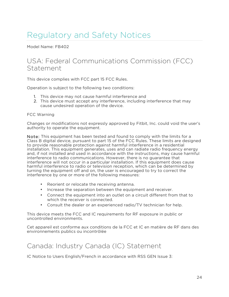 Regulatory and safety notices, Canada: industry canada (ic