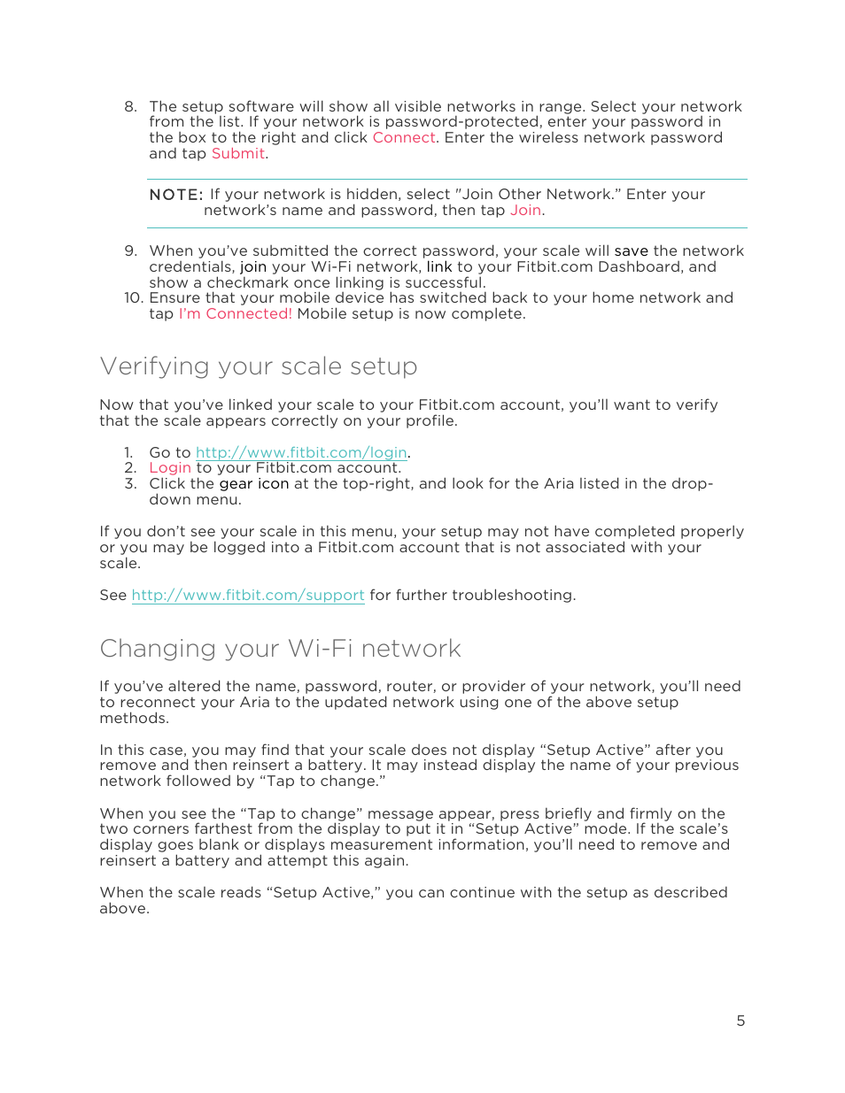 Verifying your scale setup, Changing your wi-fi network | Fitbit