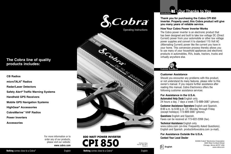 Cobra manual array cobra electronics cpi 850 user manual 11 pages rh manualsdir fandeluxe Gallery