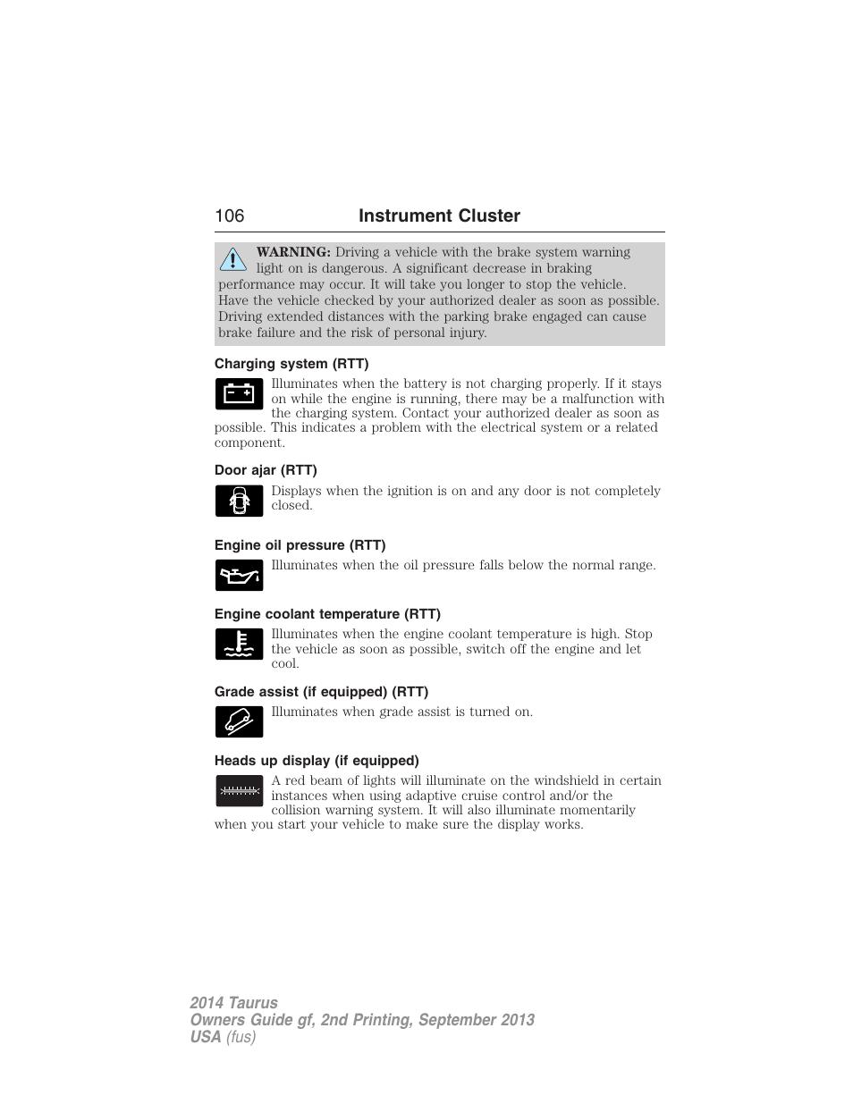 Charging System Rtt Door Ajar Engine Oil Pressure Ford 2017 Taurus V 2 User Manual Page 107 554