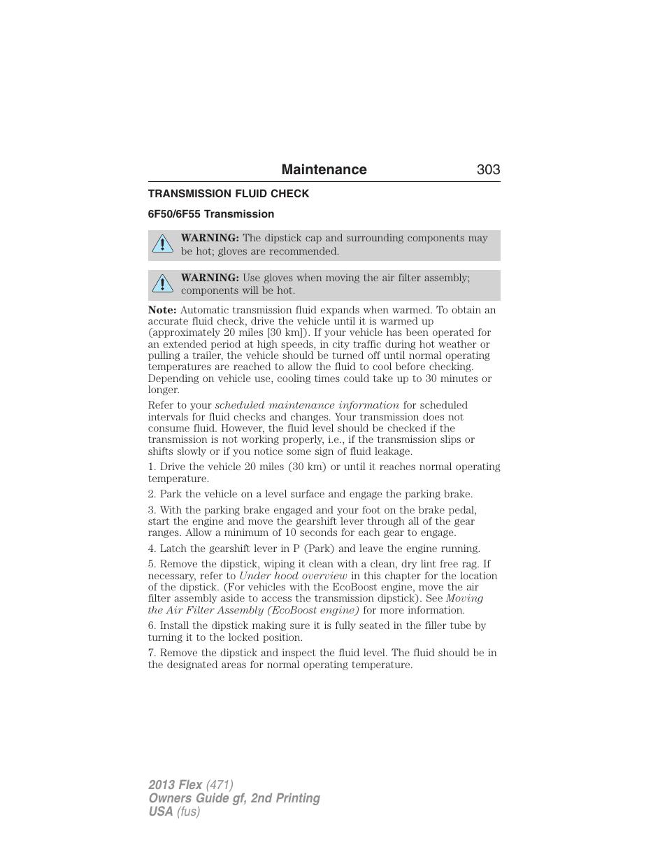 ford flex maintenance manual