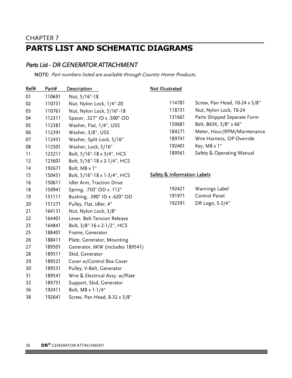 Parts List And Schematic Diagrams  Chapter 7  Parts List
