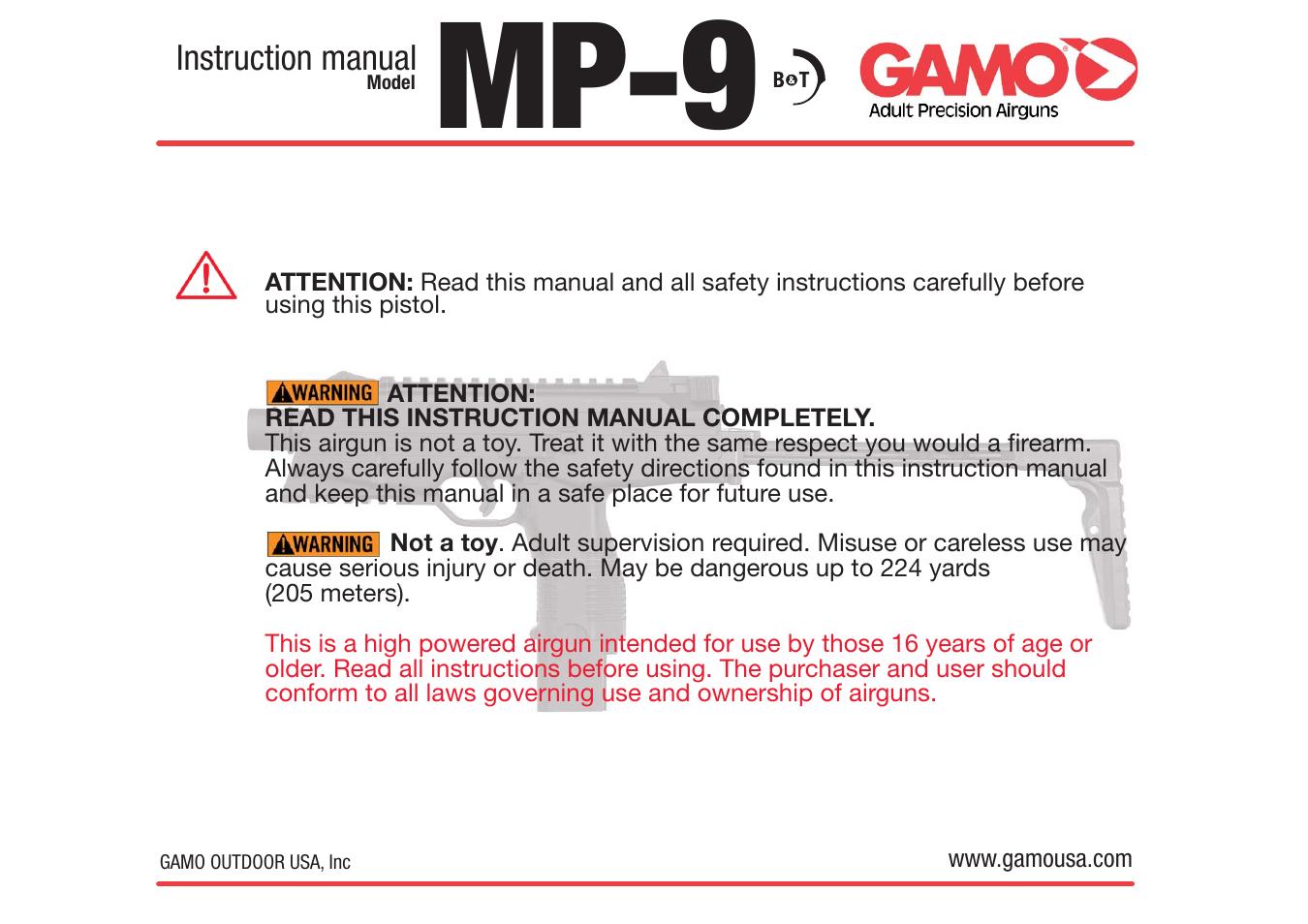 gamo mp9 blowback pistol user manual 7 pages rh manualsdir com vport user manual read well vport user manual read well