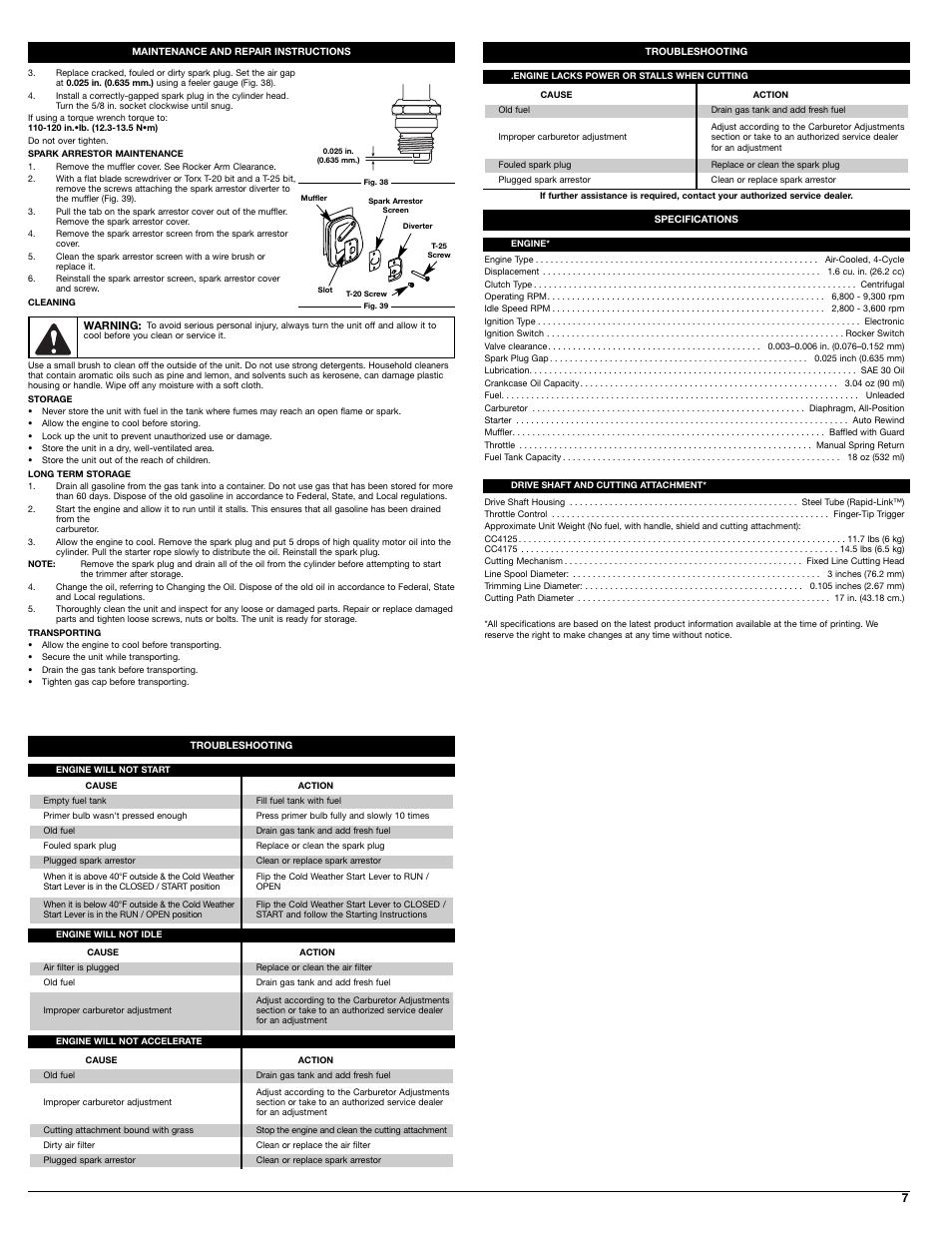 Cub Cadet CC4125 User Manual   Page 7 / 20