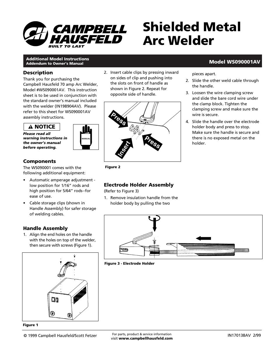 campbell hausfeld 70 amp arc welder manual