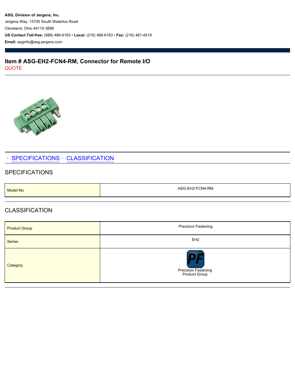 asg jergens asg eh2 fcn4 rm connector user manual 1 page rh manualsdir com