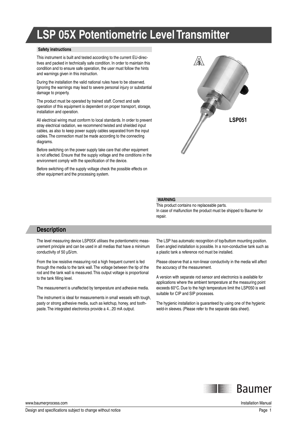 baumer lsp user manual 4 pages