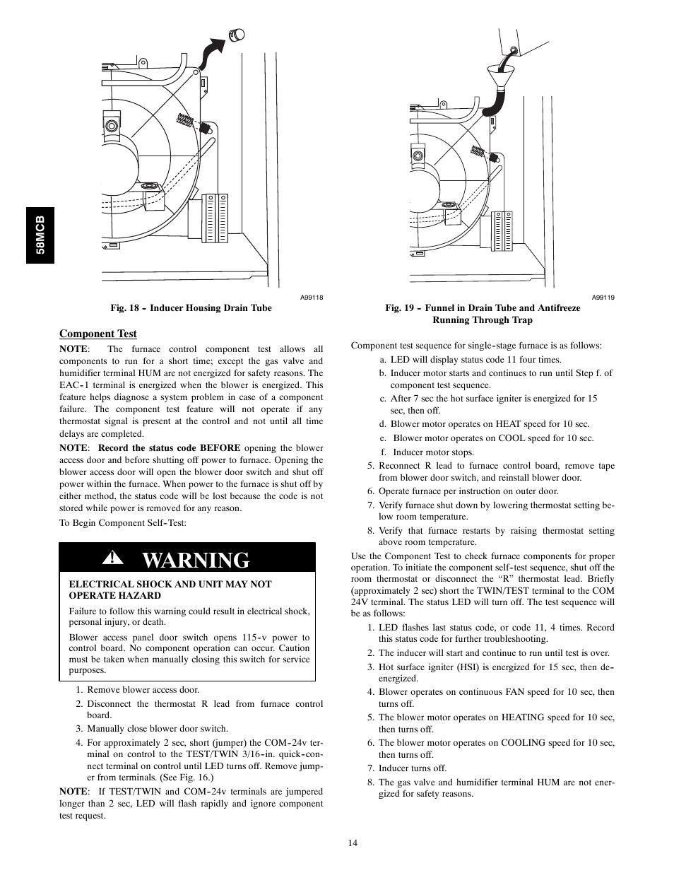 Warning | Carrier 58MCB User Manual | Page 14 / 20