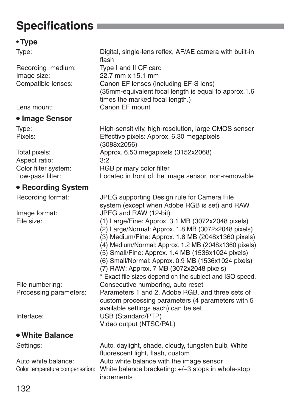 Specifications | Canon ds6041 User Manual | Page 132 / 140 ...