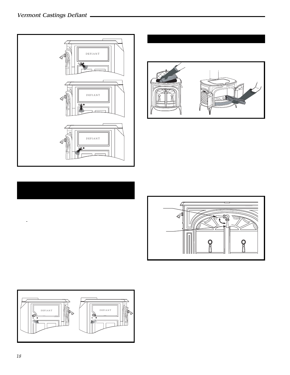 Vermont castings defiant, A damper directs air flow within the stove ...