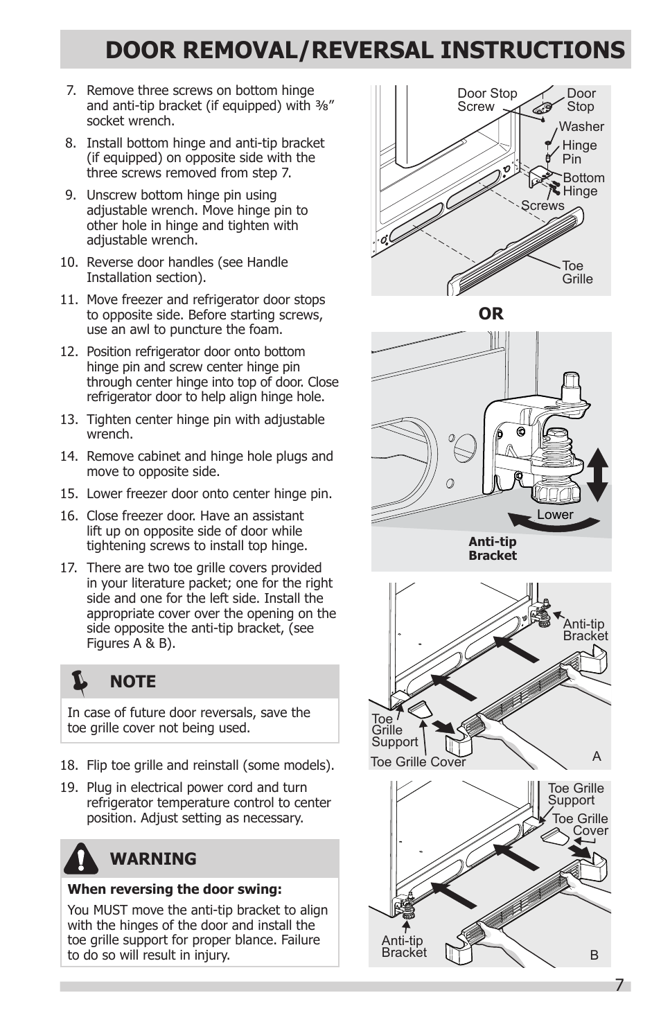 Door Removal/reversal Instructions, 7warning | FRIGIDAIRE FFHT1831QQ User  Manual | Page 7 / 19