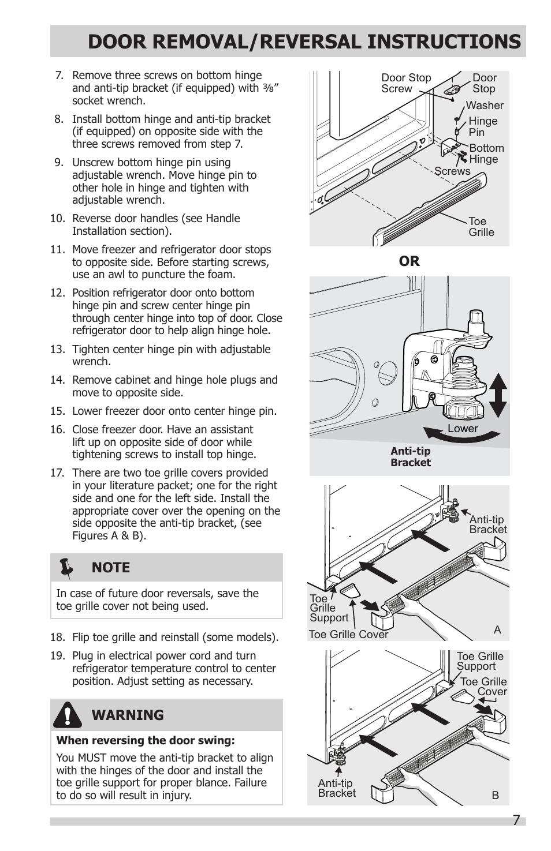 Door Removal Reversal Instructions 7warning Frigidaire