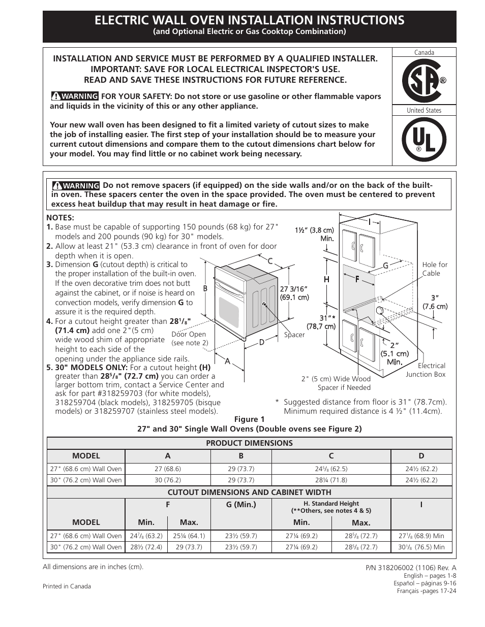 FRIGIDAIRE FGET3065KB User Manual | 24 pages | Also for: FPET3085KF,  FFET3025LS, FGET3065KF, FGET3065KW, FGET2745KB, FGET2765KF, FFET2725LS,  FGET2765KB, ...
