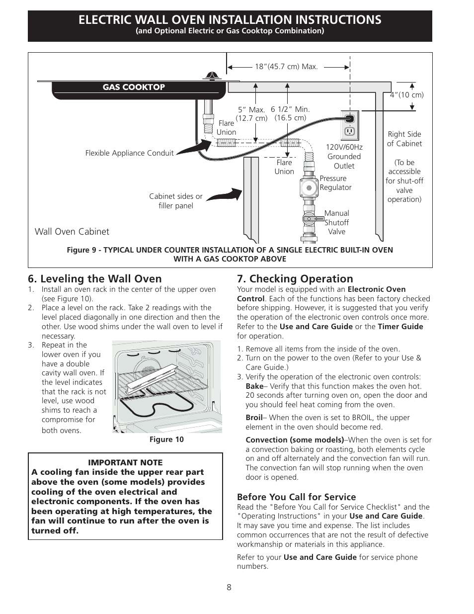 Electric Wall Oven Installation Instructions Checking Operation Built In Wiring Leveling The Frigidaire Fget3065kb User Manual Page 8 24