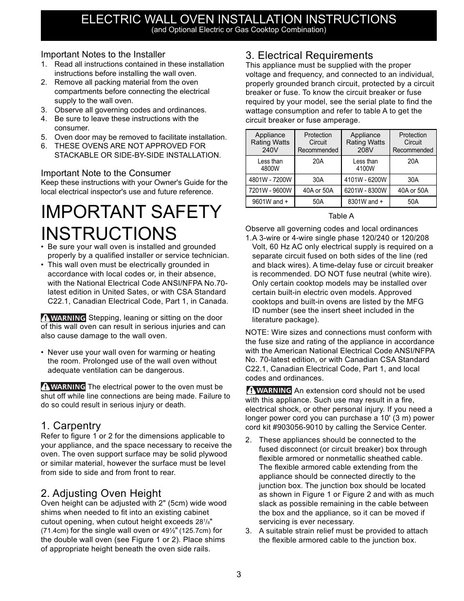 important safety instructions, electric wall oven installation instructions,  carpentry | frigidaire ffet2725ps user manual | page 3 / 24