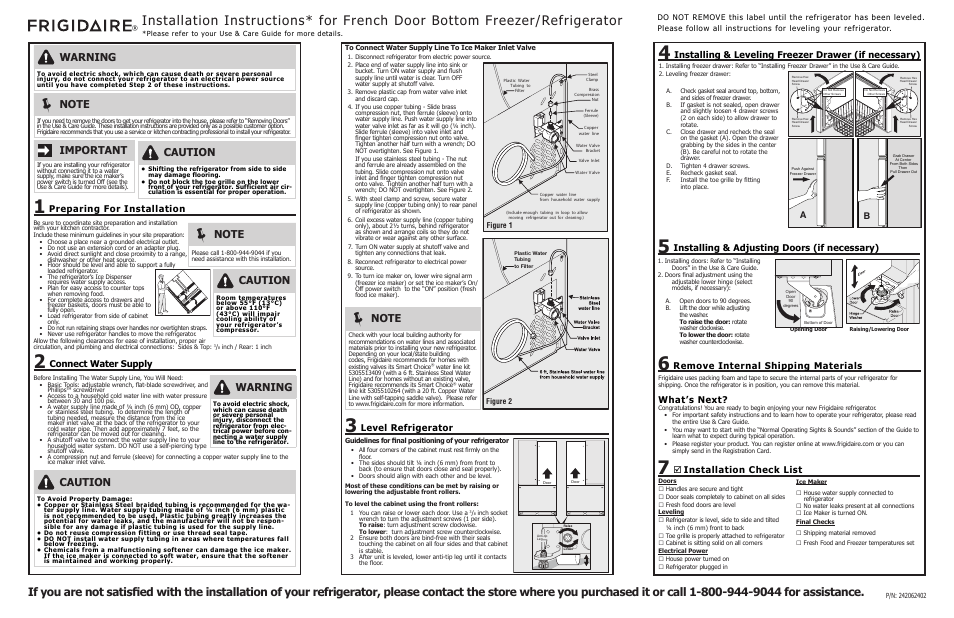 Frigidaire Fghf2366pf User Manual 1 Page Also For