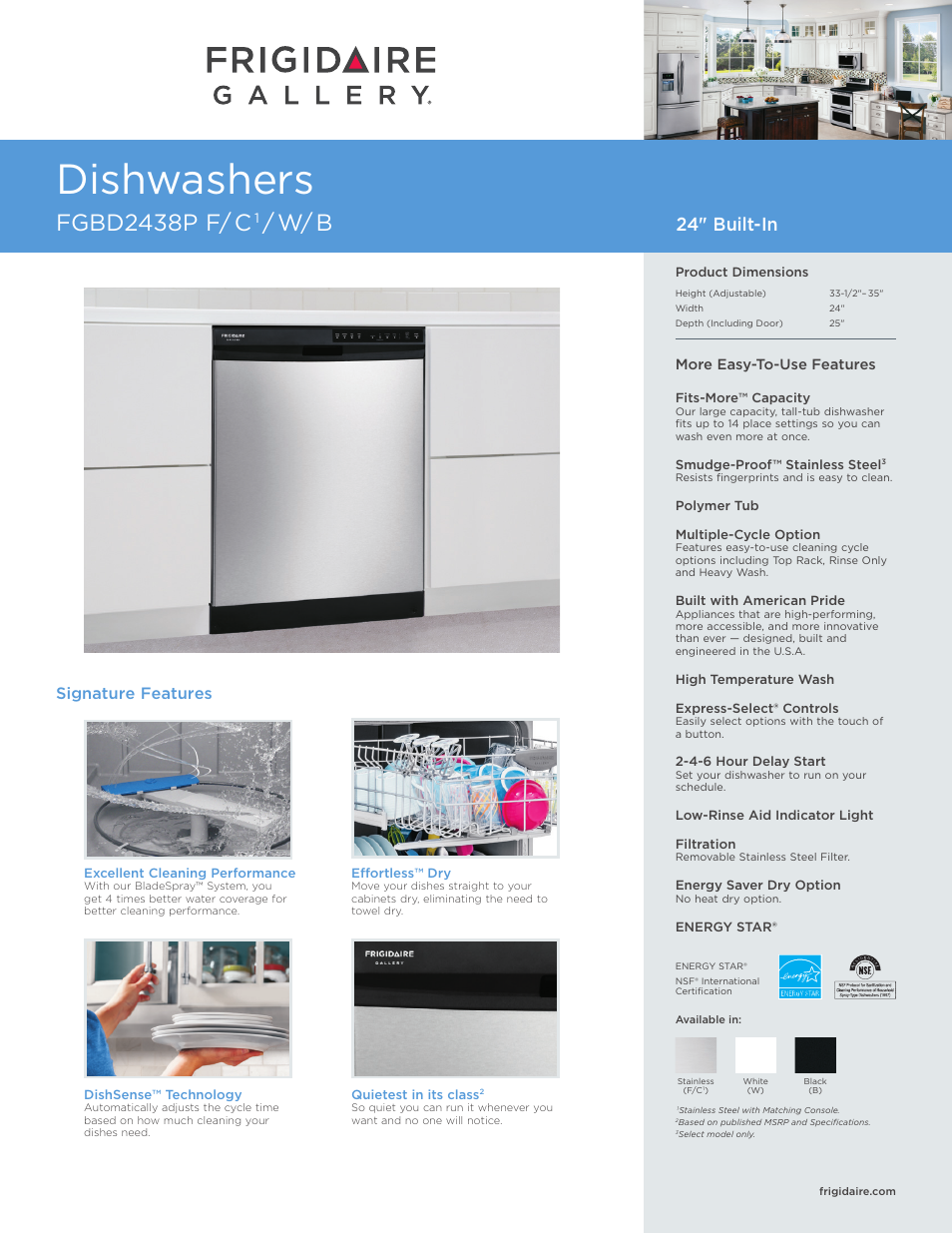 FRIGIDAIRE FGBD2438PB User Manual | 7 pages | Also for: FGBD2438PW,  FGBD2438PF