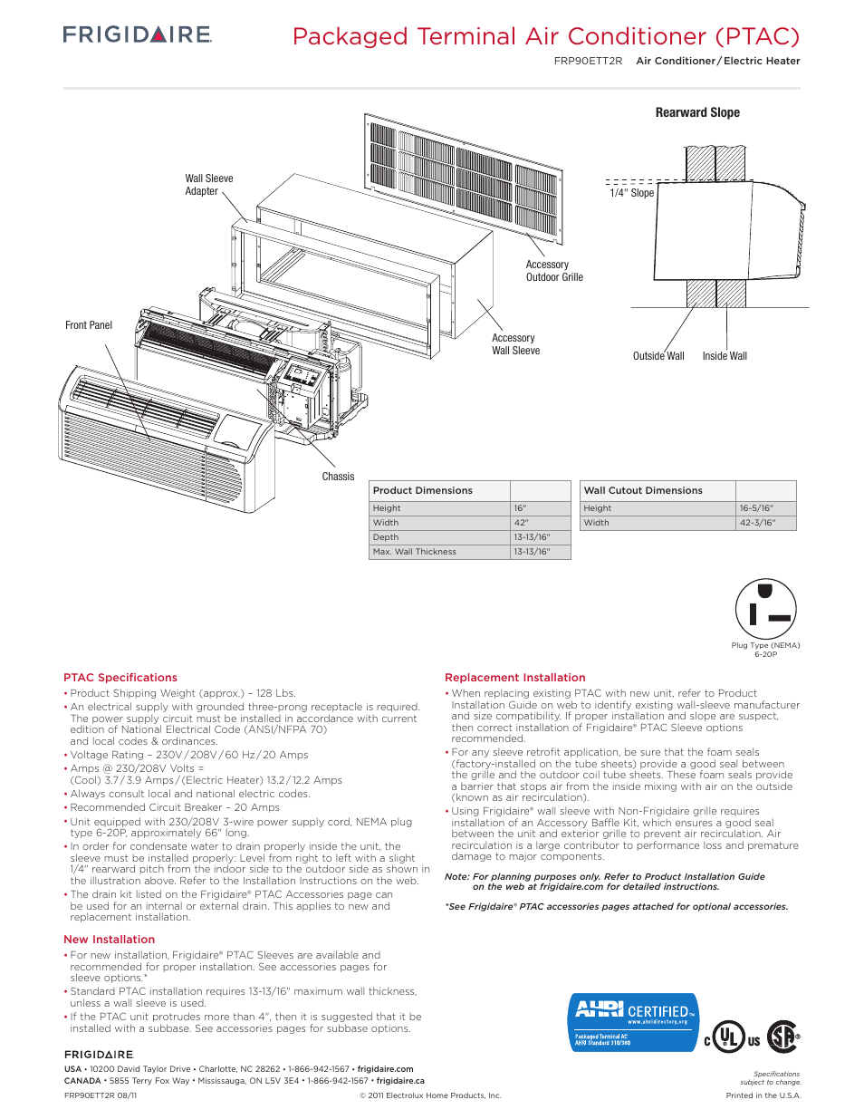 Packaged terminal air conditioner (ptac), Rearward slope | FRIGIDAIRE  FRP90ETT2R User Manual | Page 3 / 6