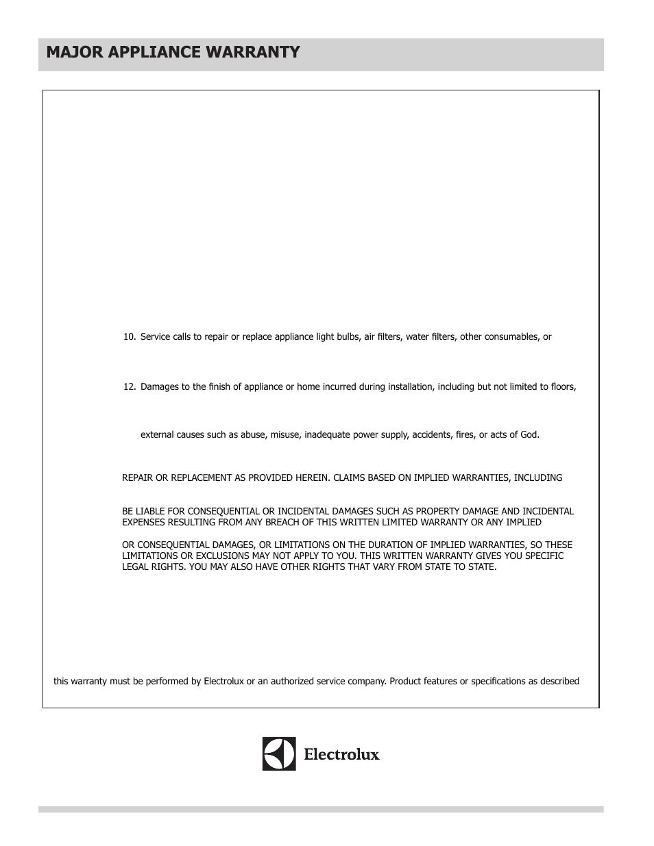 Major appliance warranty information, Major appliance