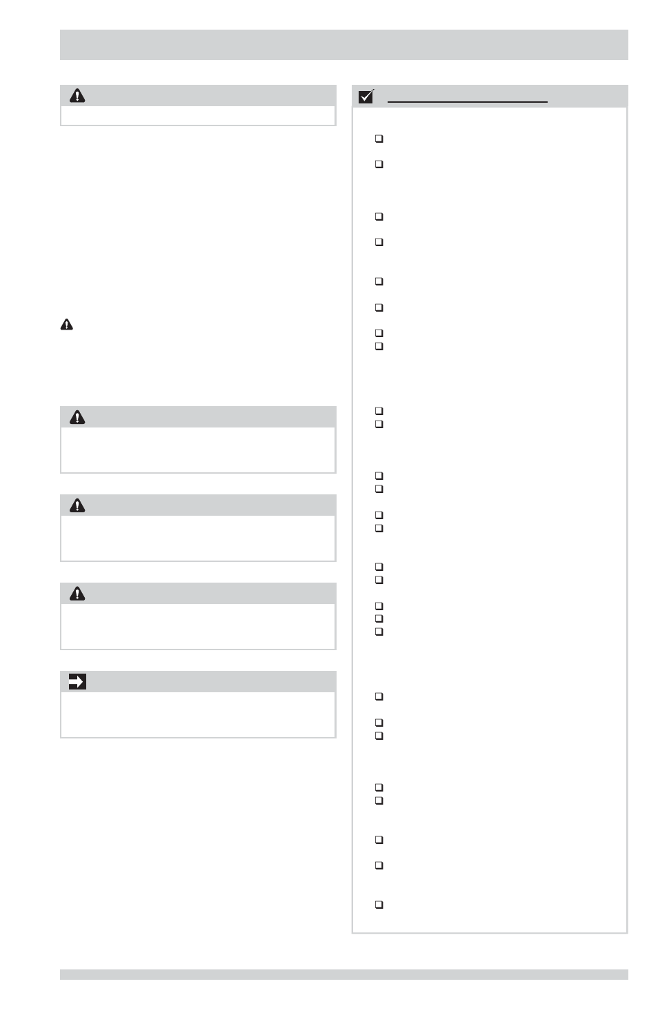 Important safety instructions, Installation checklist defi nitions on