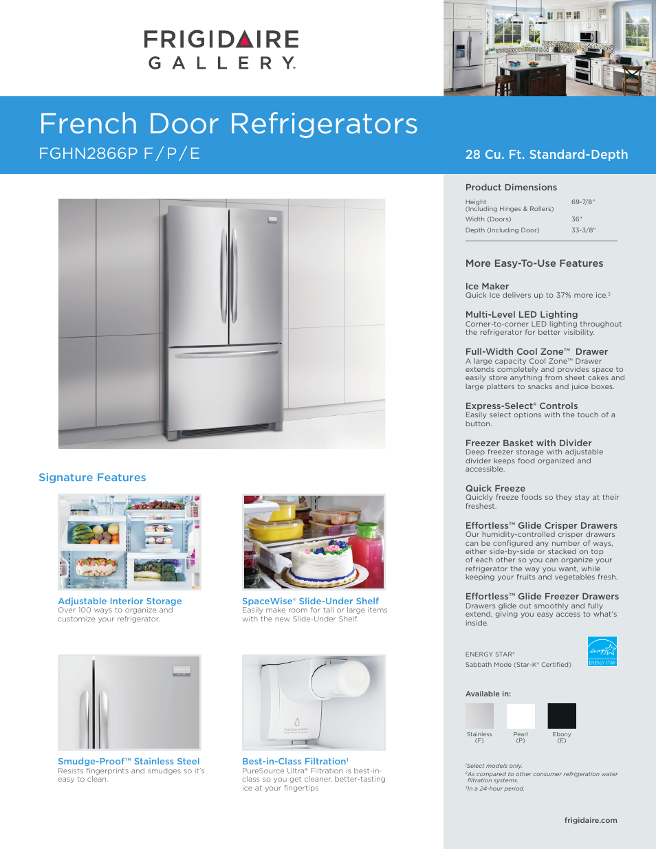 FRIGIDAIRE FGHN2866PP User Manual   4 pages   Also for: FGHN2866PE,  FGHN2866PF