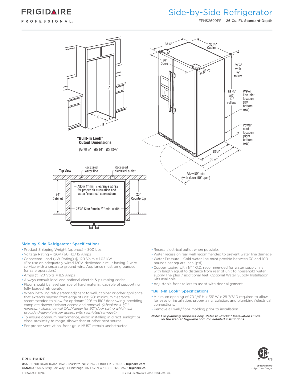 Side-by-side refrigerator | FRIGIDAIRE FPHS2699PF User Manual | Page 3 / 4