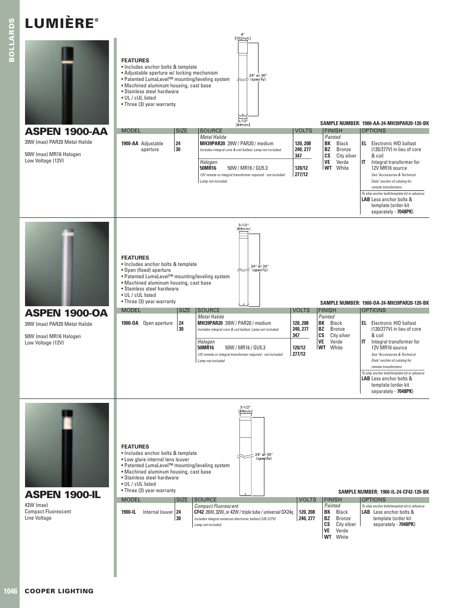 Cooper Lighting Lumiere Aspen 1900-IL User Manual | 1 page | Also for Lumiere Aspen 1900-OA Lumiere Aspen 1900-AA  sc 1 st  manualsdir.com & Cooper Lighting Lumiere Aspen 1900-IL User Manual | 1 page | Also ...