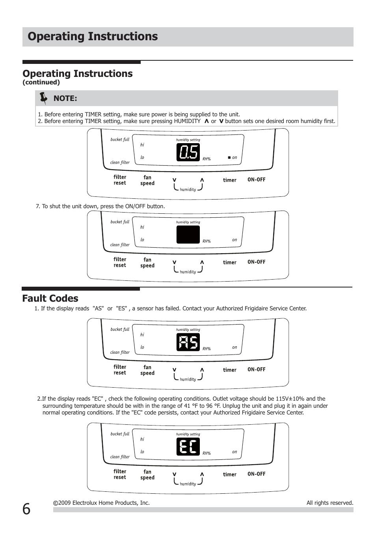 frigidaire dehumidifier owners manual