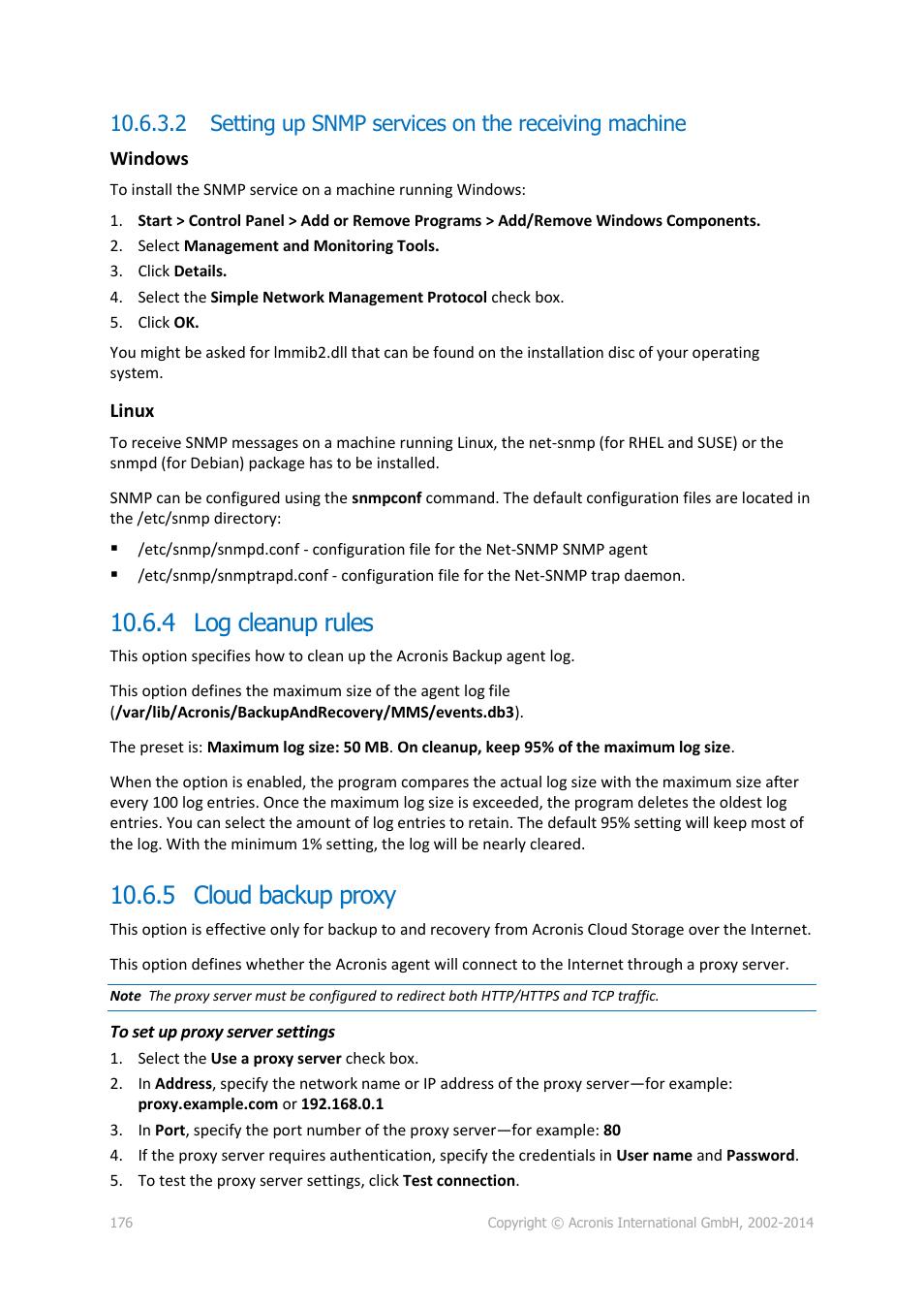 4 log cleanup rules, 5 cloud backup proxy, 4 log cleanup rules 10 6