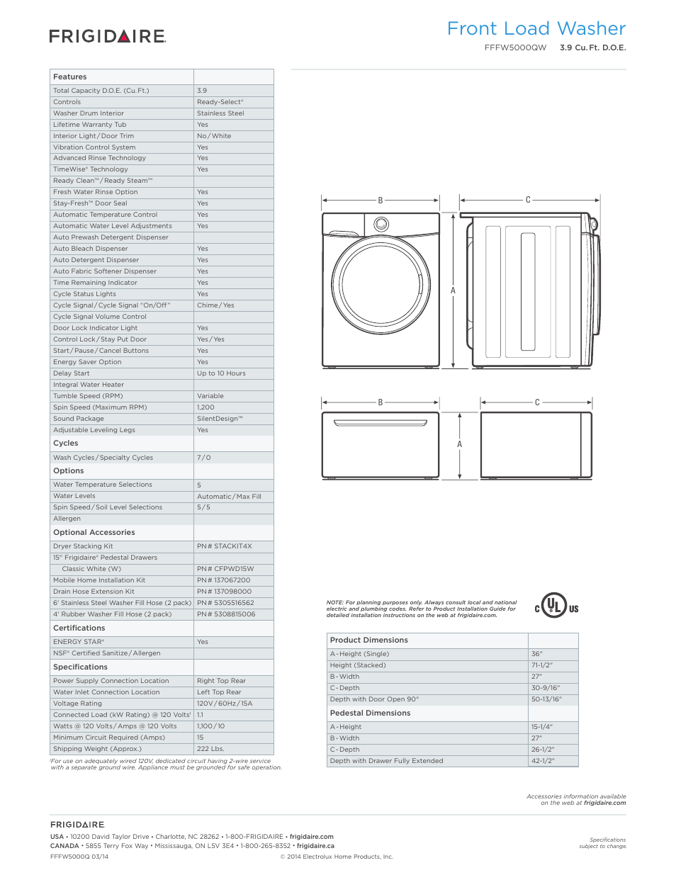 Front Load Washer Frigidaire Fffw5000qw User Manual