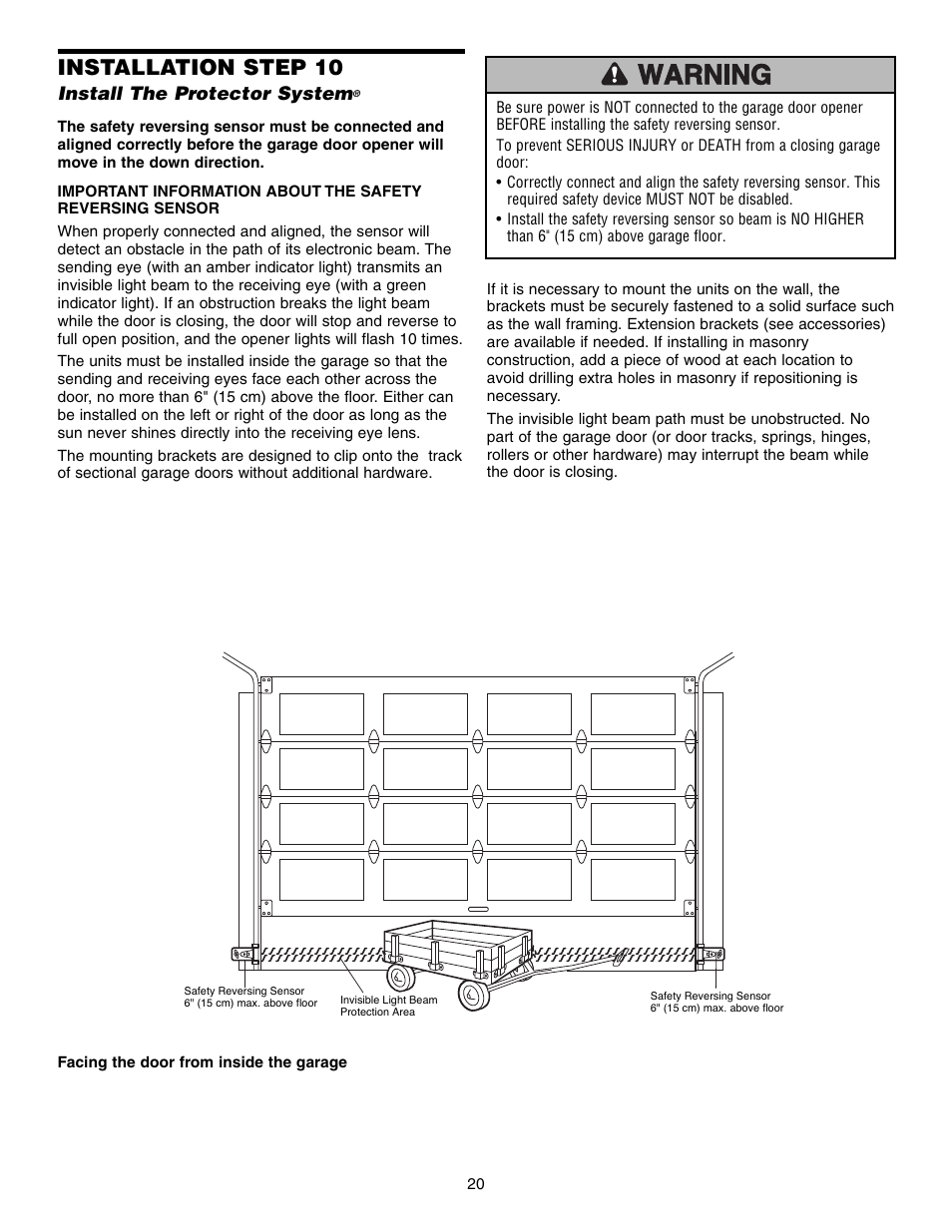 install the protector system, installation step 10 | chamberlain security  hd200dm user manual | page 20 / 40