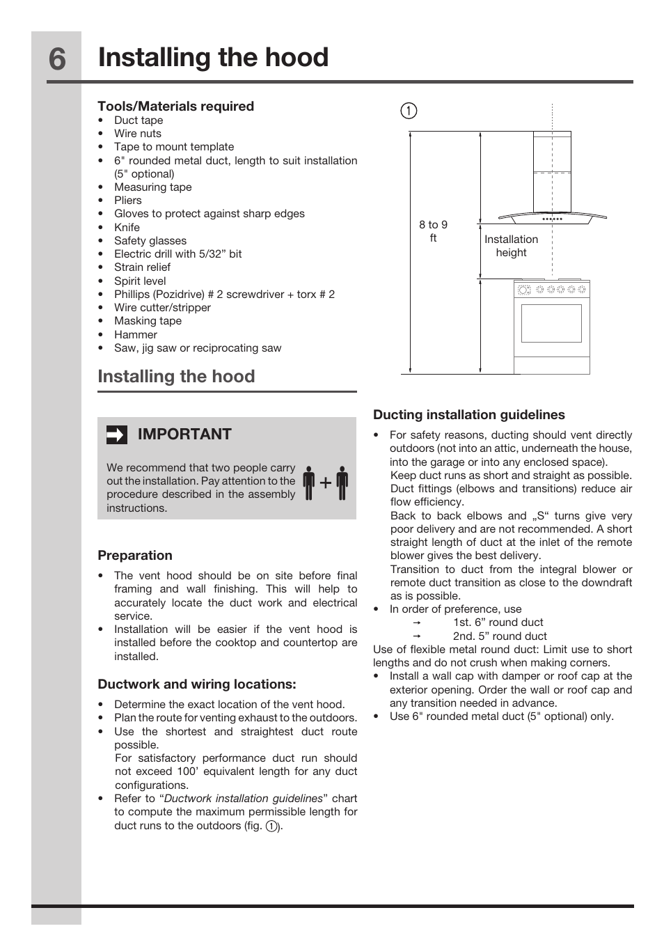 Installing the hood | FRIGIDAIRE FHPC4260LS User Manual | Page 6 / 15