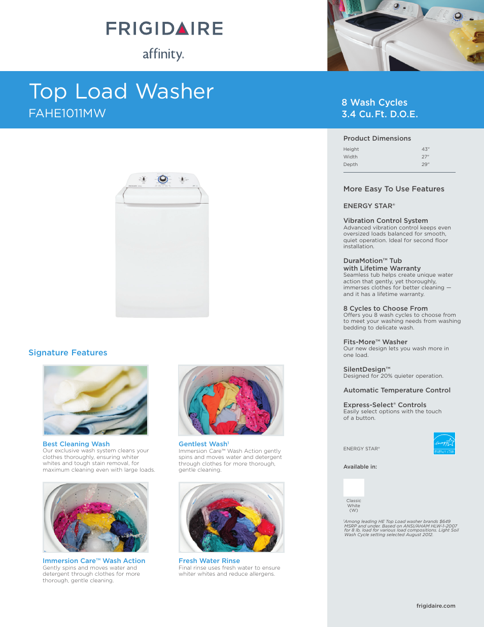 Frigidaire Affinity Washer Fahe1011mw User Manual 3 Pages