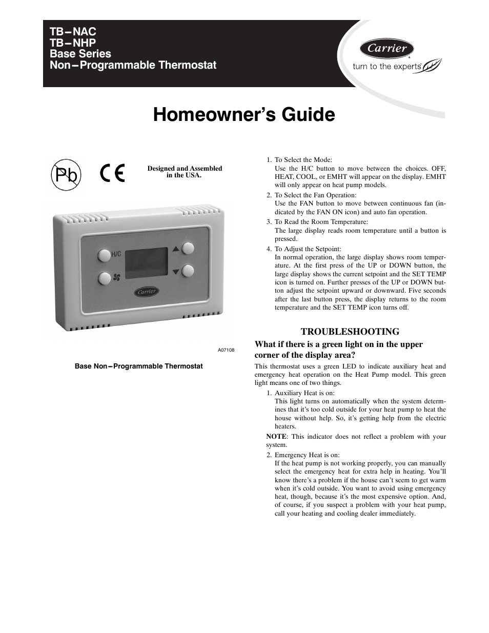 homeowner s guide carrier tb nhp user manual page 5 8 rh manualsdir com Air Carrier Jet Air Craft Carrier