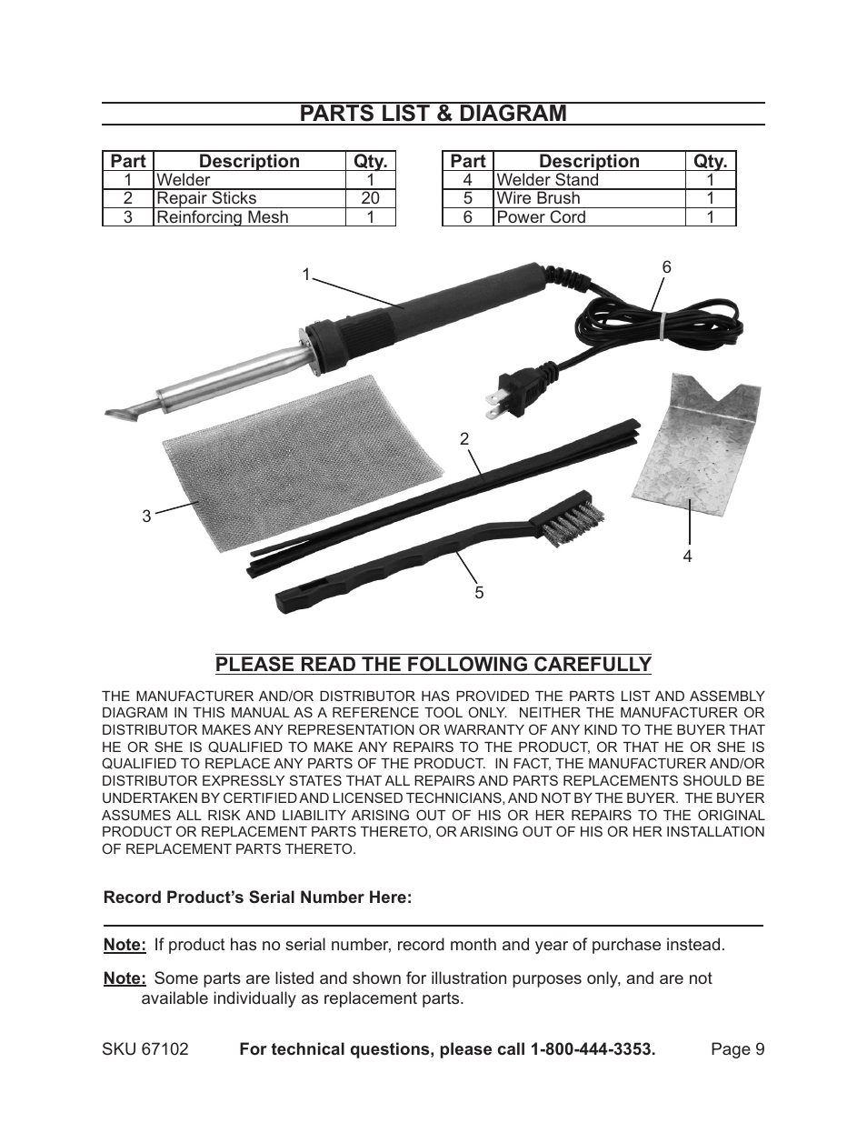 Parts List Diagram Chicago Electric 80w Plastic Welding Kit With Of Iron 67102 User Manual Page 9 10