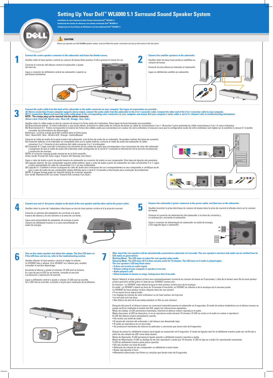 Dell Wl W Surround Speaker System With Ghz Wireless Rear Channels And Subwoofer Page on Yamaha Speaker Manuals